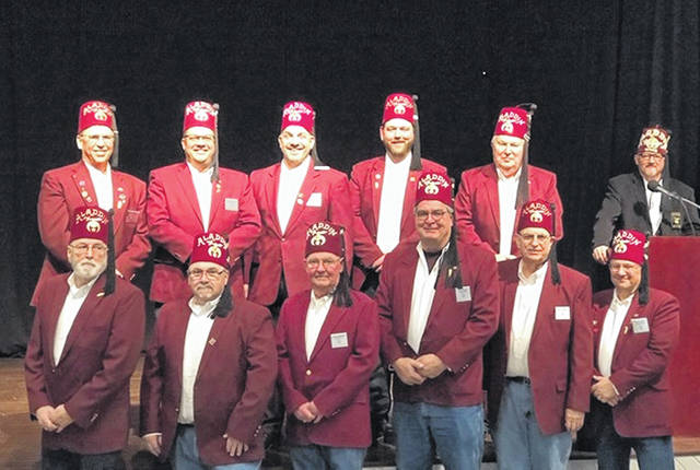 The Washington Shrine Club recently installed its officers for 2019: Front row, left to right: Kenny Arnold, director, Danny Maxie, director, Steve Simpson, treasurer, Brian Tabitt, secretary, Bill Sowash, chaplain, Jeff Detty, past president; Back row, left to right, Milan Hanson, president, Jason Langley, vice president, Mike Callahan, first vice president, Tyler Ruth, second vice president, Warren Craig, director, and Devan Rep. Greg Osborn.