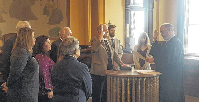 "Fayette County Court of Common Pleas Judge Steven Beathard recently swore in Jerry Savage as the new Fayette County Veterans Service Commissioner. He will take over the position of Charles ""Buck"" Harris, who passed away in July."