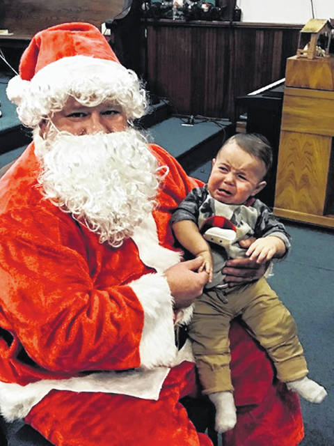 "This photo of 1-year-old Bohen Lawwell, son of Ren and Marissa Lawwell, was the winner of the first ""Scared of Santa"" photo contest."