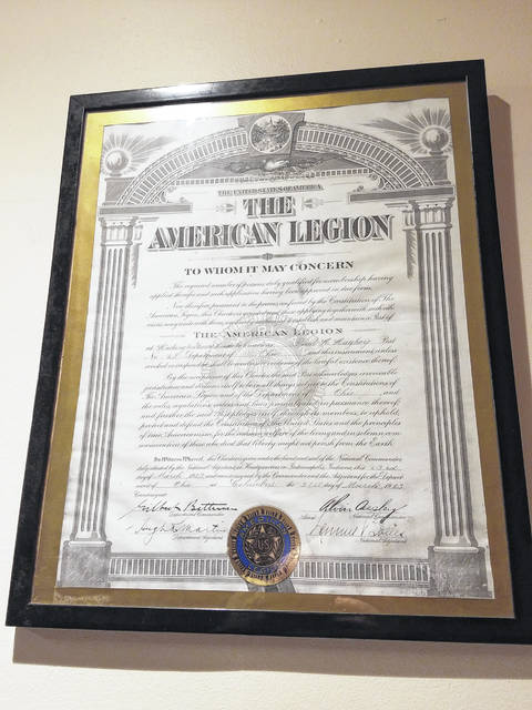 The Paul H. Hughey American Legion Post 25 in Washington Court House is reflecting on its past 100 years of service in preparation of their celebration. Organizers of the American Legion 100 years of service celebration announced Tuesday that Paul LaRue will be the keynote speaker and Dan Roberts will emcee on March 23. The event will be held at the American Legion Post 25 in Washington Court House with a social hour beginning at 6 p.m. and the program starting at 7 p.m. Pictured is the charter that hangs in the office of the post.