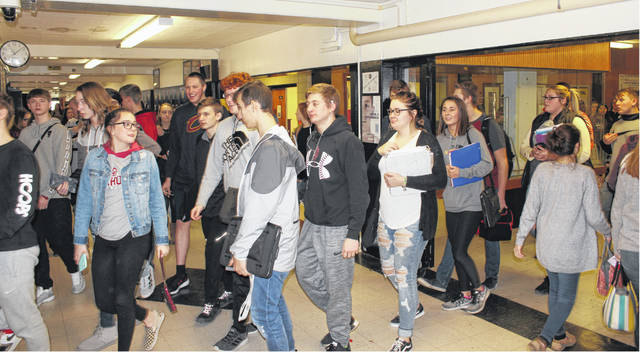 Students going to their next class on the final day of school at the original Miami Trace High School Friday, Feb. 15, 2019.