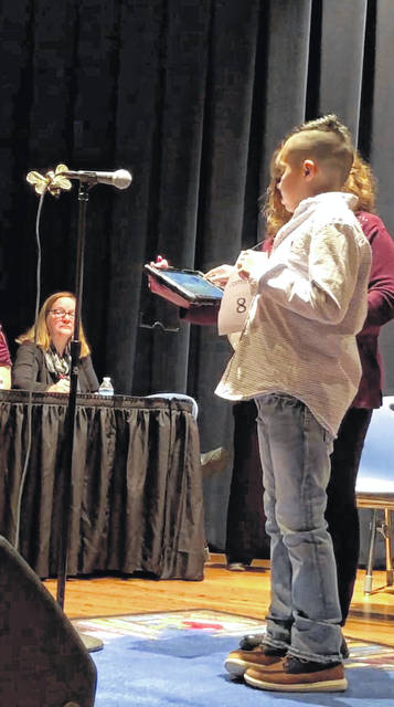 Dominic Leiva at the school spelling bee.