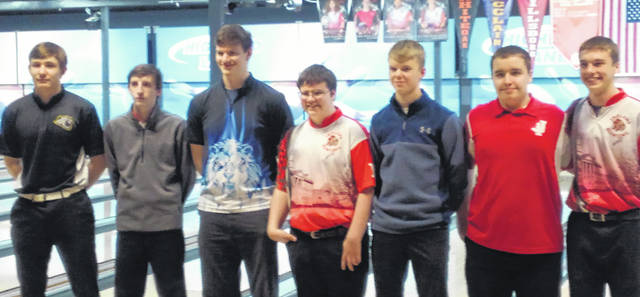 The top boys bowlers in the Frontier Athletic Conference are pictured following the FAC tournament at Highland Lanes in Hillsboro Saturday, Feb. 9, 2019. (l-r); Andrew Amore, Miami Trace, Bowler of the Year; Christian McConehea, Hillsboro; Austin Knisley, Washington; Hunter Springer, Hillsboro; Owen Mullins, Washington; Shawn Woodyard, Jackson and Brendon Ormes, Hillsboro. These First Team, All-FAC bowlers will be honored at the winter sports banquet on March 14.