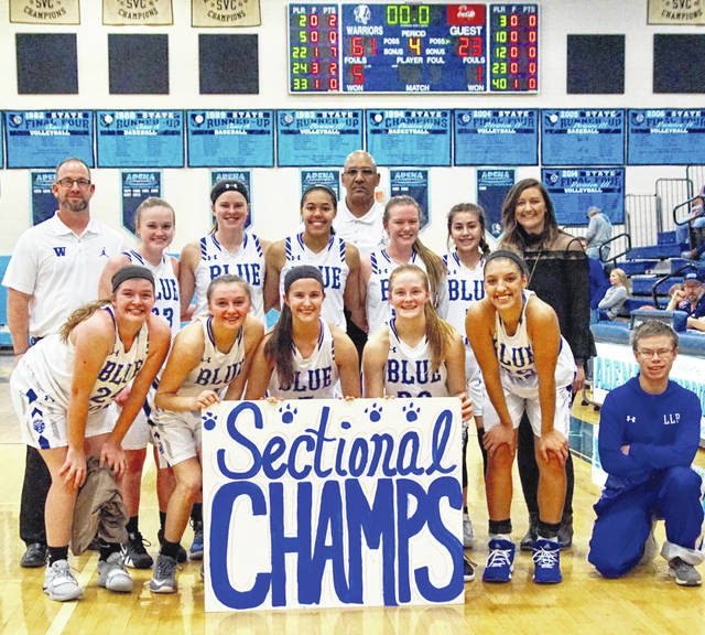 2019 SECTIONAL CHAMPION WASHINGTON LADY BLUE LIONS — Washington won a second consecutive Sectional title by defeating Waverly 61-23 Thursday, Feb. 14, 2019 at Adena High School. (front, l-r); Maddy Jenkins, Bre Taylor, Kassidy Hines, Tabby Woods, Hannah Haithcock and team manager Joey Pickelheimer; (back l-r); coach Corey Dye, Abby Tackage, Shawna Conger, Rayana Burns, coach Mychal Turner, Halli Wall, Aaralyne Estep and head coach Samantha Leach.