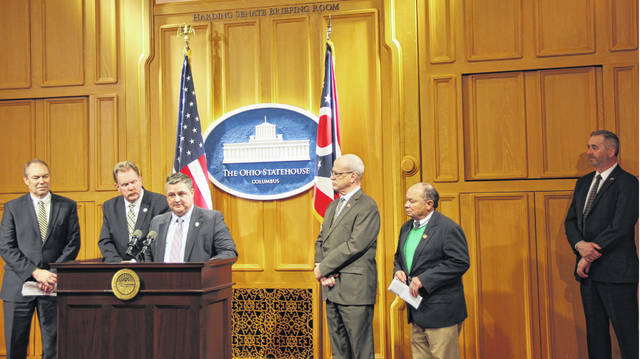 State Sen. Bob Peterson, state representatives Shane Wilkin and John Rogers, and Ohio Attorney General Dave Yost unveiled legislation Tuesday to establish a procedure for counties to seek financial assistance from the state regarding extraordinary capital cases.