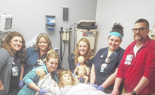 From left to right, Jamie McGee, RN – Adena Health System Women & Children's Educator, Michelle Munyon – Respiratory Therapist FCMH, Sabra Haynes, RN – Clinical Nurse Lead FCMH, Emily Duff, RN – FCMH, Melynda Rodgers, RN – FCMH, Dave Smith, RN– Adena Health System Simulation Coordinator.