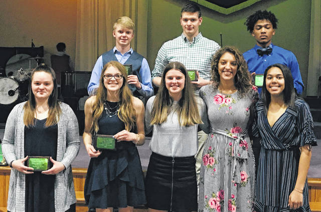 Washington Blue Lion student-athletes were among those recognized at the Frontier Athletic Conference's winter sports banquet Thursday, March 14, 2019. They are First Team, All-FAC for the 2018-19 winter sports season. (front, l-r); Maitlyn Cave, Lindsey Buckner, bowling; Shawna Conger, Hannah Haithcock, Rayana Burns, basketball; (back, l-r); Owen Mullins, Austin Knisley, bowling and Evan Upthegrove, basketball. Not pictured: Branton Dawes, wrestling.