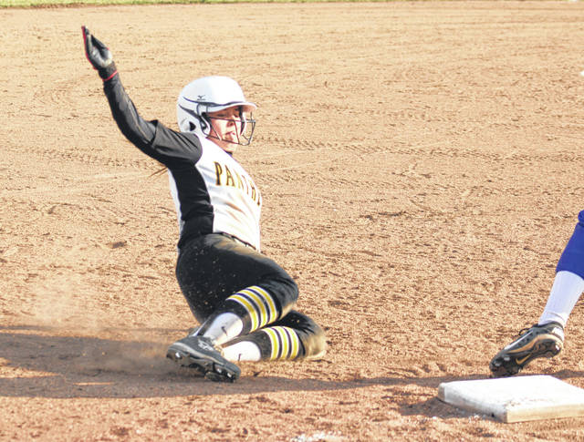 Miami Trace's Breanna Eick slides safely into third base during a non-conference game against Ross Southeastern Thursday, March 28, 2019 at Miami Trace High School.