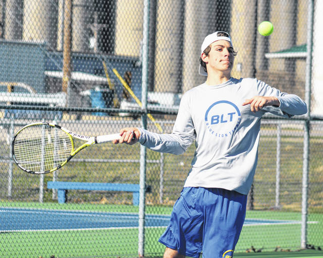 Washington's Grant Kuhlwein makes the return during a first singles match against Frontier Athletic Conference opponents Jackson at Gardner Park Tuesday, March 26, 2019.