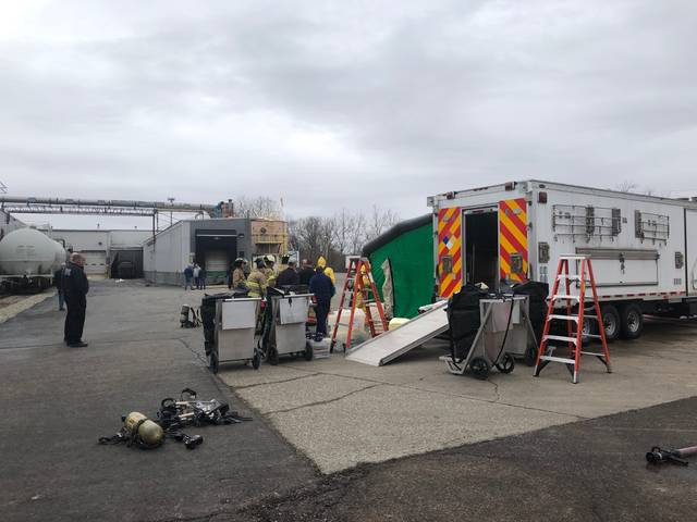 Authorities are shown responding to a chemical spill at Adient in Greenfield Wednesday morning.