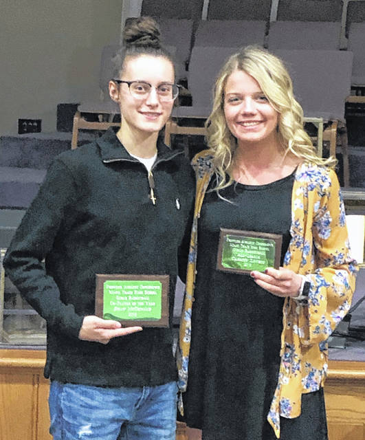 Miami Trace junior Shay McDonald, left and senior Cassidy Lovett, were recognized at the Frontier Athletic Conference's winter sports banquet Thursday, March 14, 2019. Both basketball players were First Team, All-FAC for the 2018-19 season.