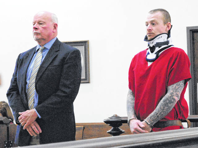 Terry Hester, 34, Greenfield, appeared in Highland County Common Pleas Court Monday afternoon wearing a neck brace.