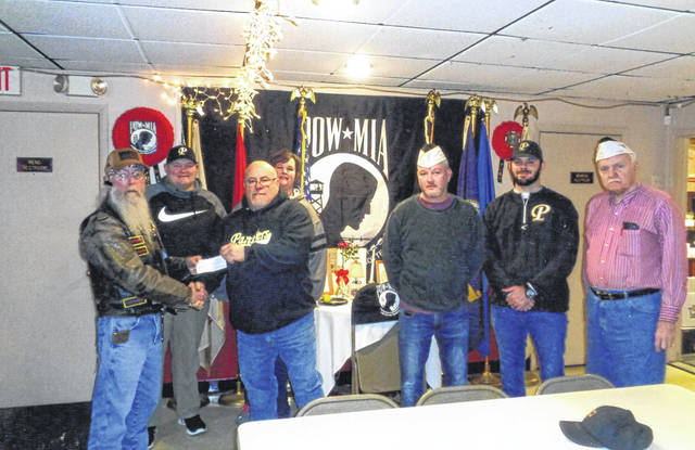 The VFW Riders recently donated to Fayette County baseball teams. Pictured (L to R): John Everhart, Billy Whiteside, Barry Coe, Jeanine Whiteside, Tracy Patterson, Cody Snyder and Bob Malone.