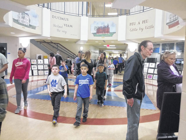 Arts Roar featured approximately 1,200 student works that stretched through the high school and middle school hallways. There was a large turnout of students, families and educators.