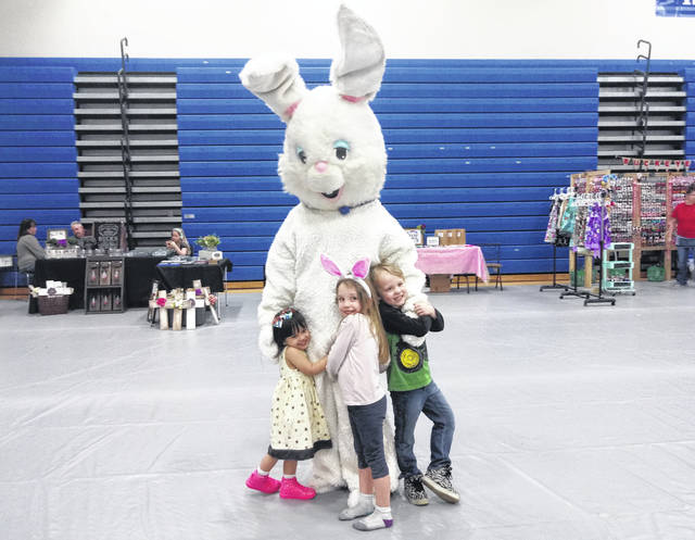 The Easter Bunny hopped around with little ones at Craftapalooza on Saturday. Creative Court House Treasurer Jennifer Kasberg took on the role for the event. The kids pictured here (L-R) are Aleiana Kai Kelley, Virginia Noe and Colby Therrien. Craftapalooza featured several vendors selling items and sharing their artistic talents with those who attended the event.