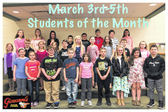 The third through fifth grade students of the month were (L to R): front row: Annabel Teter, Karley Barker, Landon Sears, Eric Beers, Carley Furniss, Colin Clarke, Lexi Smith, Kelsey Hickman and Gabe Denney. Middle row: Koralyn Kosanke, Eyan Taulbee, Jeslin Ruth, Brenna Sword, Brody McBee, Nora Morrison, Alison Carter, Anthony Shipley, Macy Lewis and Mariyha McDaniel. Back row: Mya Babineau, Lynnie King, Cailee Cox, Cameran Silbach, Lincoln Jester, Darrien Mason, Luke Armstrong and Ta'kyia Yahn. Not pictured: Hallie Penwell, Taegan Wood, Karina Hoover and Rakeya Benson.