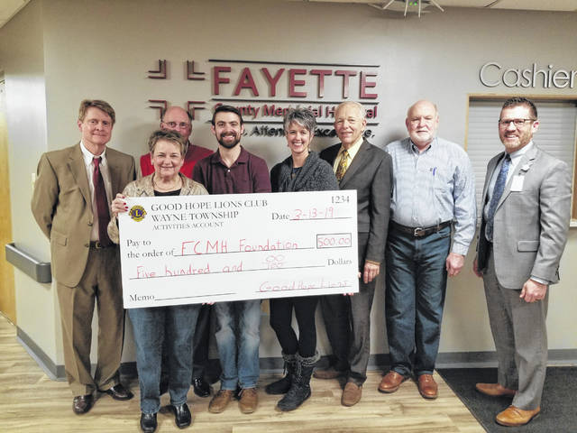 The Good Hope Lions Club made a donation to the FCMH Foundation recently. The donation is part of the proceeds from the club's annual Candy Store sales and the semi-annual pancake sausage suppers. Pictured from left are FCMH Foundation members, Bill Junk, Norma Kirby, Rob Herron, Andrew Daniels (also representing the Good Hope Lions), Shannon Jacobs, Roger Kirkpatrick, Gary Butts and FCMH CEO Mike Diener.