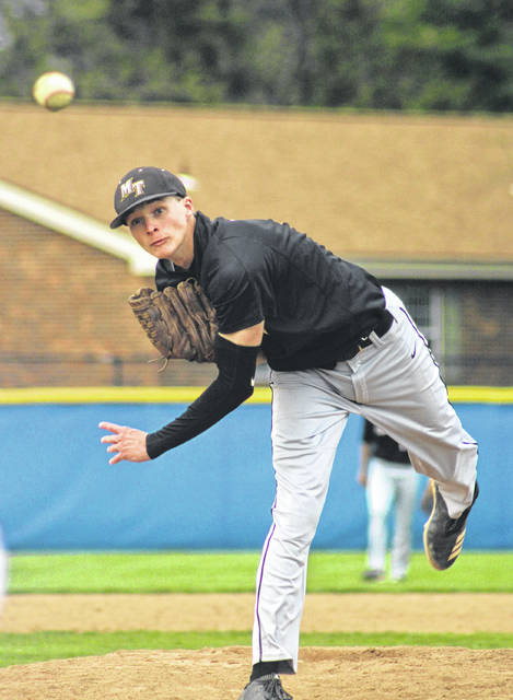 Austin Brown pours a pitch plate-ward for the Miami Trace Panthers during the Fayette County rivalry game against the Blue Lions at Washington High School Wednesday, April 24, 2019. Brown pitched 6.1 innings for the win.