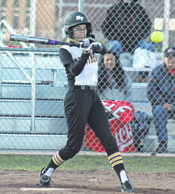 Miami Trace's Billie Jo Seitz takes a swing at a pitch during a Frontier Athletic Conference game against Chillicothe Monday, April 15, 2019 at Miami Trace High School.