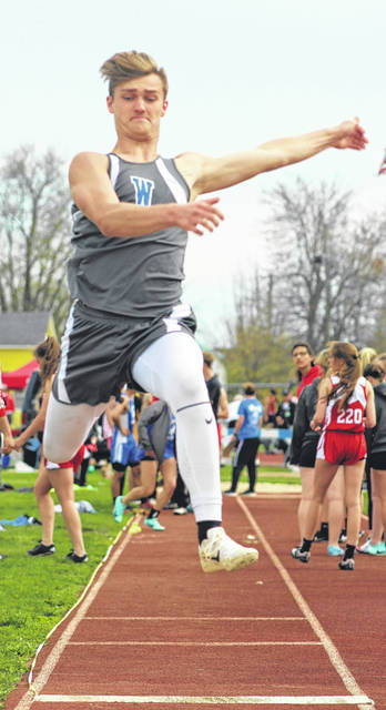 Eli Lynch placed third in the long jump for Washington at the Blue Lion Invitational Friday, Apri 12, 2019.