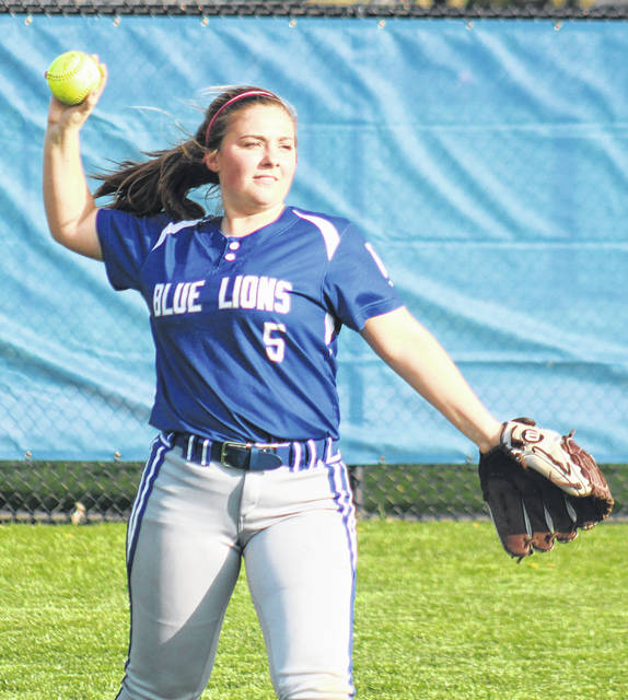 Washington's Emma Funari returns the ball to the infield from her position in left field during a non-conference game against South Charleston Southeastern Thursday, April 18, 2019.