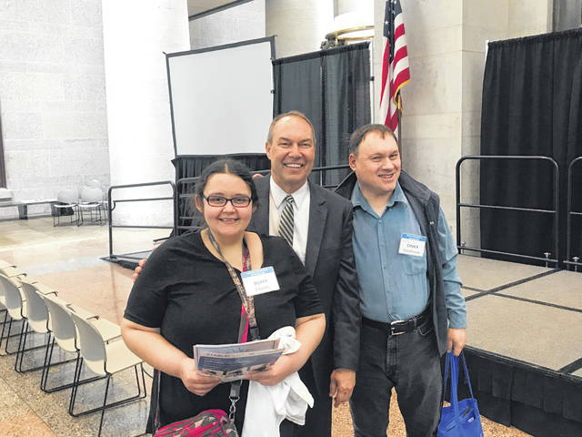 Buffy Enochs, State Sen. Bob Peterson, and Chuck Stackhouse were in attendance at the annual 2019 DD (Developmental Disabilities) Awareness and Advocacy Day at the Ohio State House.