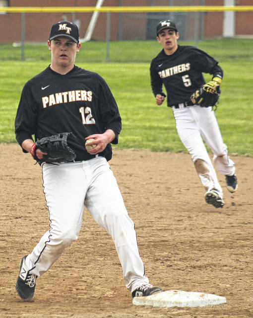 Hunter McBee gets the put-out at first base for Miami Trace during a Frontier Athletic Conference game against the McClain Tigers Friday, April 5, 2019. Also pictured for Miami Trace is Cody Brightman.