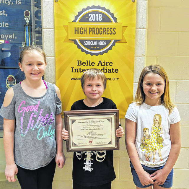 Belle Aire Intermediate School was recently honored by the Ohio Department of Education and the Southern Ohio ESC as a High Progress School of Honor. Accepting this award recently for their Blue Lion classmates and teachers were Leigha Lane-Crowder, Doug Green II, and Jasmine Bishop. Leigha represented her fifth grade classmates, Doug represented the third grade students, and Jasmine represented the fourth graders.