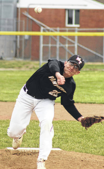 Luke Henry delivers a pitch for Miami Trace during a non-conference game against Franklin Heights Thursday, April 4, 2019 at Miami Trace High School. Henry shutout the Falcons on two hits over five innings.