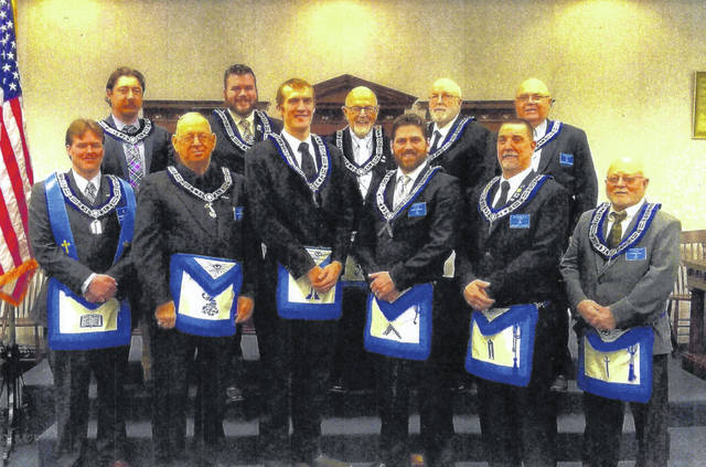 The Mason Fayette Lodge No. 107 F.&A.M. in Washington Court House elected new officers for 2019. Pictured (L to R): Matthew Rumer, Terry Gruber, Leonard Sines, Justin Coffman, Brent Garringer, Paul Sands, John Coffman, Ken Arnold, Anthony Cooper, Charles Cruther and Charles Zinn.