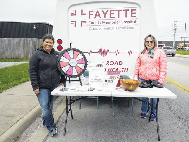 Fayette County Memorial Hospital staff was on hand to give information during the event. Pictured are Beth Rinehart (left) and Patti Bailey (right).