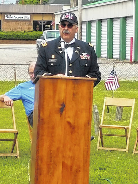 The Fayette County Veterans Service Commission, with assistance from other community organizations, honored the fallen veterans for Memorial Day at the Old Pioneer Cemetery behind Dairy Queen in Washington Court House on Friday. Speaker retired army Lt. Col. Steve Janasov addressed those in attendance to discuss important anniversaries for veterans and their families and discussed D-Day.