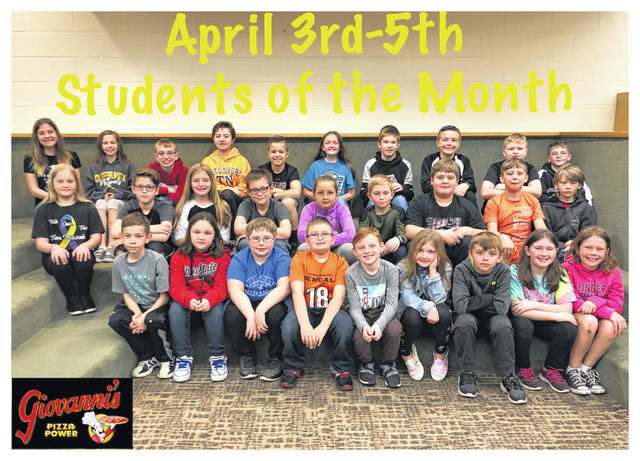 The third through fifth grade students of the month were (L to R): front row: Max Johnson, Kahlen Jones, Gaberiel Spurgeon, Landon Yeazel, Henry Edwards, Karlee Knisley, Gage Davis, Lea Wood and Madison Gleadell. Middle row: Anna Langley, Coty McMillin, Lizzy Turner, Wyette Mosher, Kielyn Quigley, Kenton Berry, Luke Bennett, Timothy Crane and Samuel Vaughn. Back Row: Brooklyn Radcliff, Laine Holstein, Clayden Hooks, Norah Burson, Austin Brown, Karley Hicks, Granten Terhune, Connor Napier, Alex Robinson and Tyler Moore. Not Pictured: Sarah Whitney and Kyler Leisure.