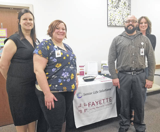 From left, Tenille Gibson, regional director, Jennifer Perdew, patient/office coordinator , Troy Gregorino, program therapist, and Angela Tackett, program director of Fayette County Memorial Hospital's Senior Life Solutions.