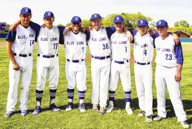 Washington Blue Lion baseball seniors were reorganized prior to the game against Vinton County Wednesday, May 8, 2019. (l-r); Eli Shaw, Tyler Rood, Bailey Roberts, Jarred Hall, George Reno, Cortez O'Flaherty and Jay Fettig.