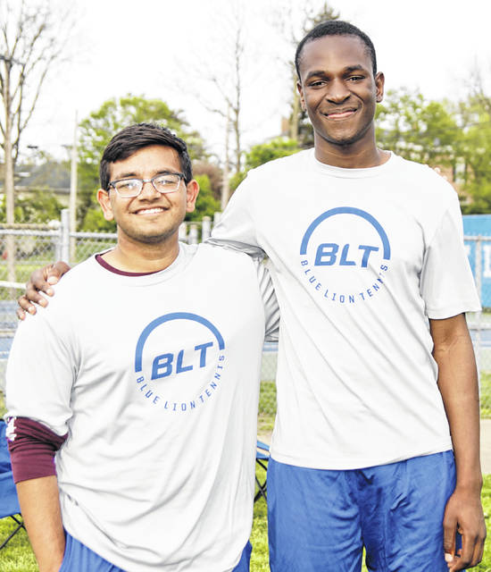 The Washington Blue Lions saluted their two tennis seniors prior to a non-conference match against Circleville Wednesday, May 1, 2019. Shrey Maniya, left and Blaise Tayese ended the regular season by winning their respective matches by identical 6-0, 6-0 scores.
