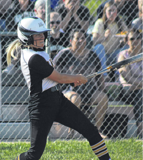 Cassidy Lovett at the plate for Miami Trace Monday, May 6, 2019 during a Sectional semifinal game against Hillsboro at MTHS.