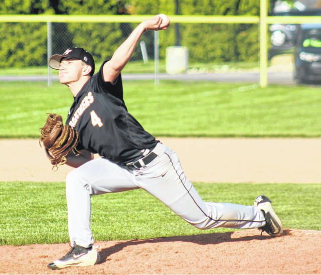 Connor Bucher delivers a pitch for Miami Trace during a non-conference game against Madison Plains Monday, May 6, 2019.