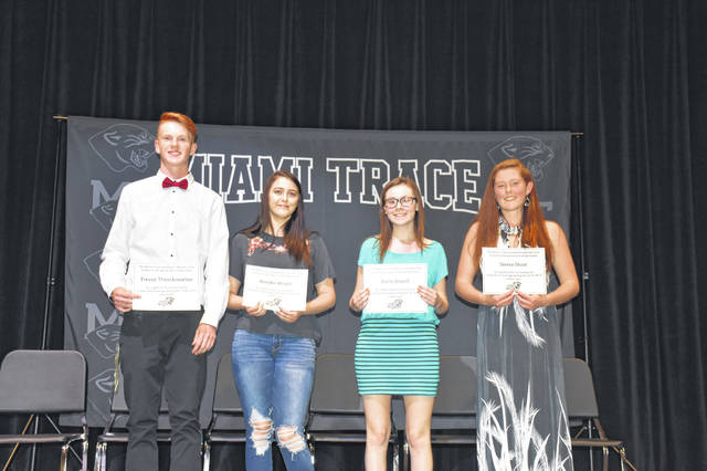 The Miami Trace Academic Booster Club held its Honors Recognition Ceremony recently. MTHS students were recognized for Top Academic Improvement and Top of the Class. Top Academic Improvement Recipients included (L to R): Trevor Throckmorton, Brooke Wright, Katie Atwell and Sierra Stout. Not pictured: Jacob Smith, Dylan Abel, Tyler Howell, Emily Peloquin, Indica Wilson and Ashtyn Barton.