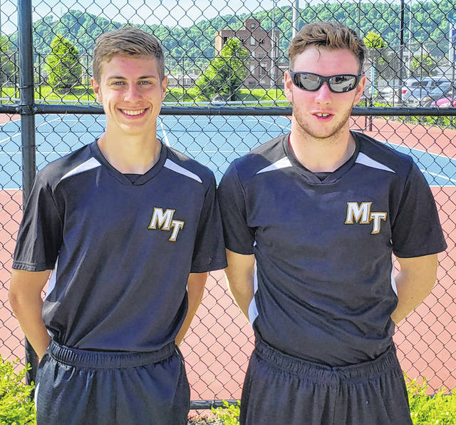 Miami Trace District tennis qualifiers, Devin Riggs, left and Isaac Abare at the courts in Portsmouth, the site of the Sectional tournament. The duo will compete in the District tournament Saturday, May 18 at Ohio University.