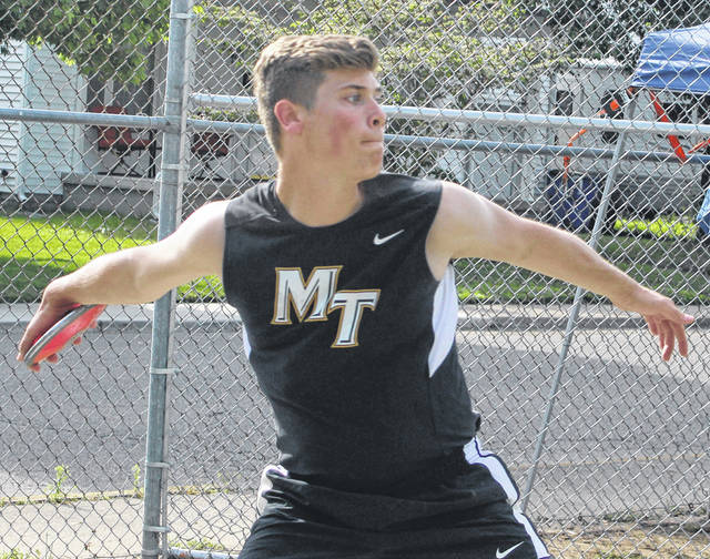 Justin Shoemaker competes in the discus throw for Miami Trace at the Frontier Athletic Conference track meet Tuesday, May 7, 2019 at Chillicothe High School.