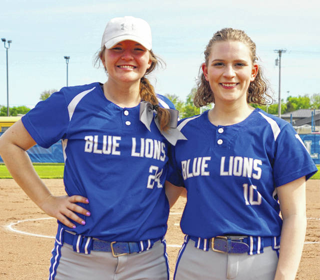 Washington Lady Lion softball seniors Maddy Jenkins, left and Taylor Smith, were recognized prior to the game against McClain Tuesday, May 7, 2019.