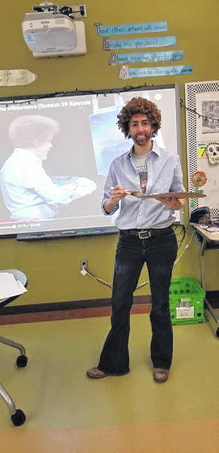 Lyndsey Mincey dressed as Bob Ross for a recent Halloween. According to Mincey, she chooses a different artist every Halloween, but Ross is her favorite so he gets used once every few years.