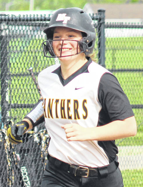Miami Trace freshman Sidney Payton heads for home after the first of her two home runs during a Frontier Athletic Conference game at Washington High School Wednesday, May 1, 2019.