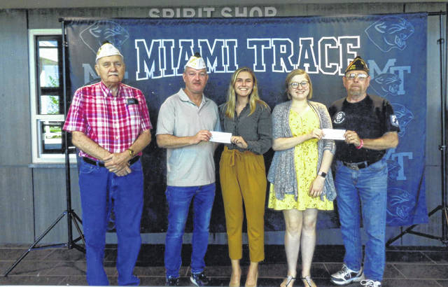 VFW Post 3762 donated two $500 scholarships to Miami Trace seniors Audrey Mead and Tori Evans. Pictured (L to R): Bob Malone, Tracy Patterson, Tori Evans, Audrey Mead and Gib Yoho.