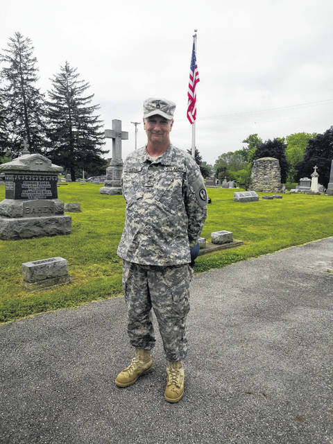 "Mark Sestina is a local veteran who attempts to visit the cemeteries on Memorial Day during the services. He said, ""I just put on my old uniform and try to come out and visit as many of the graves with flags as I can."" Sestina originally entered the Air Force in 1975 and was on active duty for approximately six years. He went into the reserves for approximately 20 years and during that time worked as a federal civilian. When his position was being cut, he went through a priority replacement program which landed him a military technical position with the army—a position that required him to be in the Army reserves so he entered the army in 2003. Sestina retired in 2015."