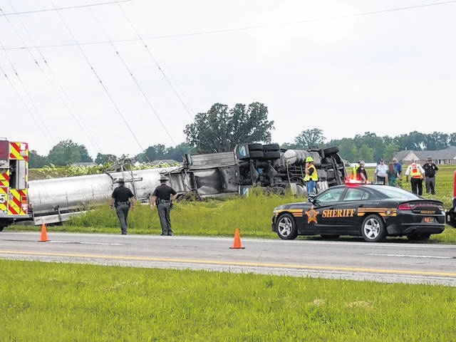 The driver of this semi-tanker truck lost control of the vehicle Wednesday afternoon on US 35 westbound, and it rolled over on the right side of the road. The driver, who suffered minor injuries, had to be extricated from the vehicle.