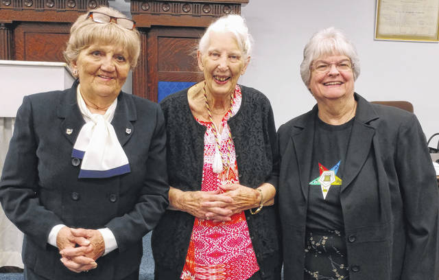 From left to right, Mary Catherine West (50-year honoree), Winnie Gregory (Worthy Matron of Royal Chapter), and Gail Allen (Secretary of Royal Chapter).