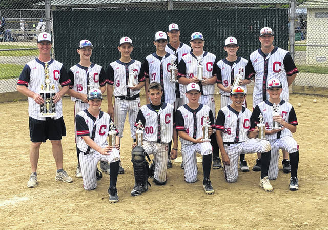 The Central Ohio Cyclones are pictured after winning the Silver bracket championship at the Grove City Classic Sunday, June 9, 2019. (front, l-r); Justin Robinson, Jacob Miller, Jacob Ralph, Caden Leck, Evan Lynch; (back, l-r); coach Marc Brunner, Maxton Brunner, Evan French, Cody Martin, coach Steve Leck, Hudson Gerken, Bailey Martin and coach Bob Robinson.