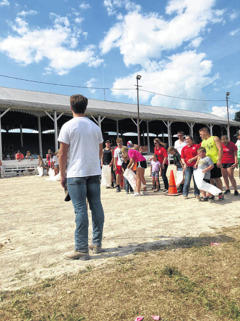 The first Barnyard Olympics were held on Sunday at the Fayette County Fair following the opening ceremony where Junior Fair exhibitors divided into teams to compete for the chance to donate $500 to a charity of their choice.